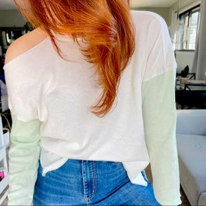 We the Free One Shoulder Distressed Top
